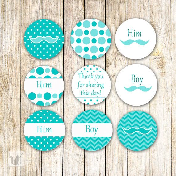 Mustache Chevron Polka Dots Turquoise Baby Shower Party Favors Printable  Small Candy Labels 0.75 Inch Candy