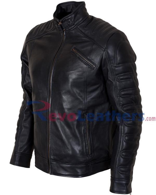 2d36634f3b BLACK PADDED FASHION DESIGNER BIKER LEATHER MOTORCYCLE JACKET – REAL LEATHER  FOR MEN