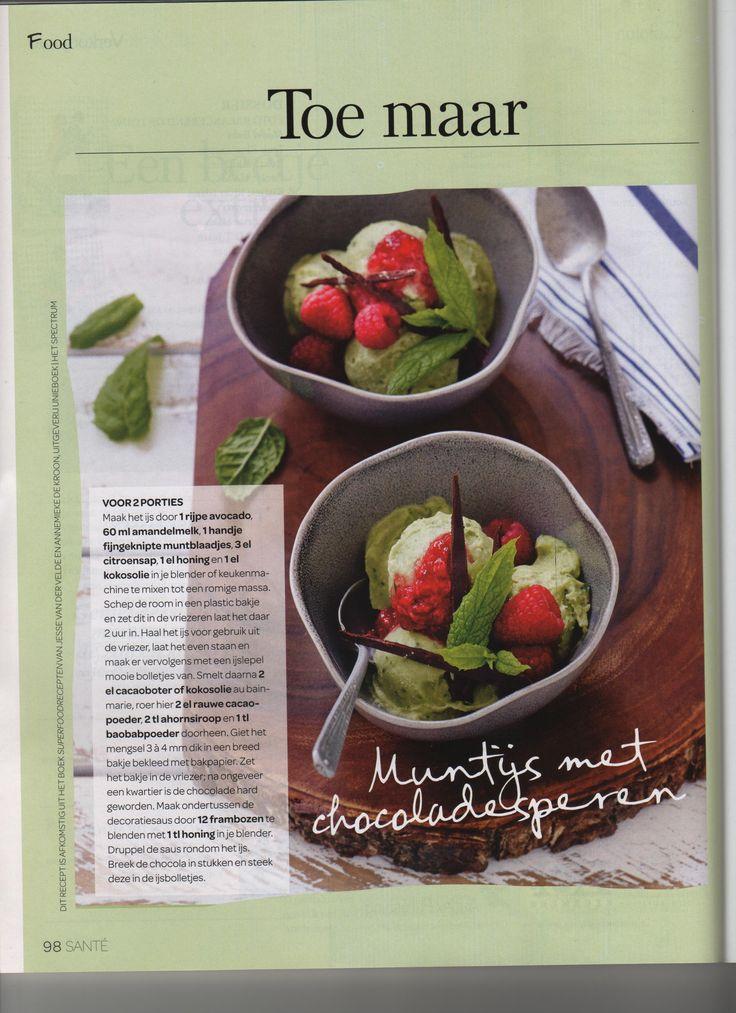 Muntijs met chocoladesperen uit Santé / Superfoodrecepten