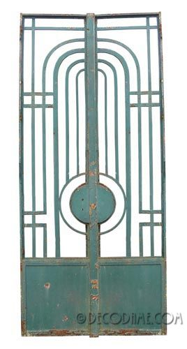 French Art Deco / Modernist Iron Entry Doors / Gates, Pair