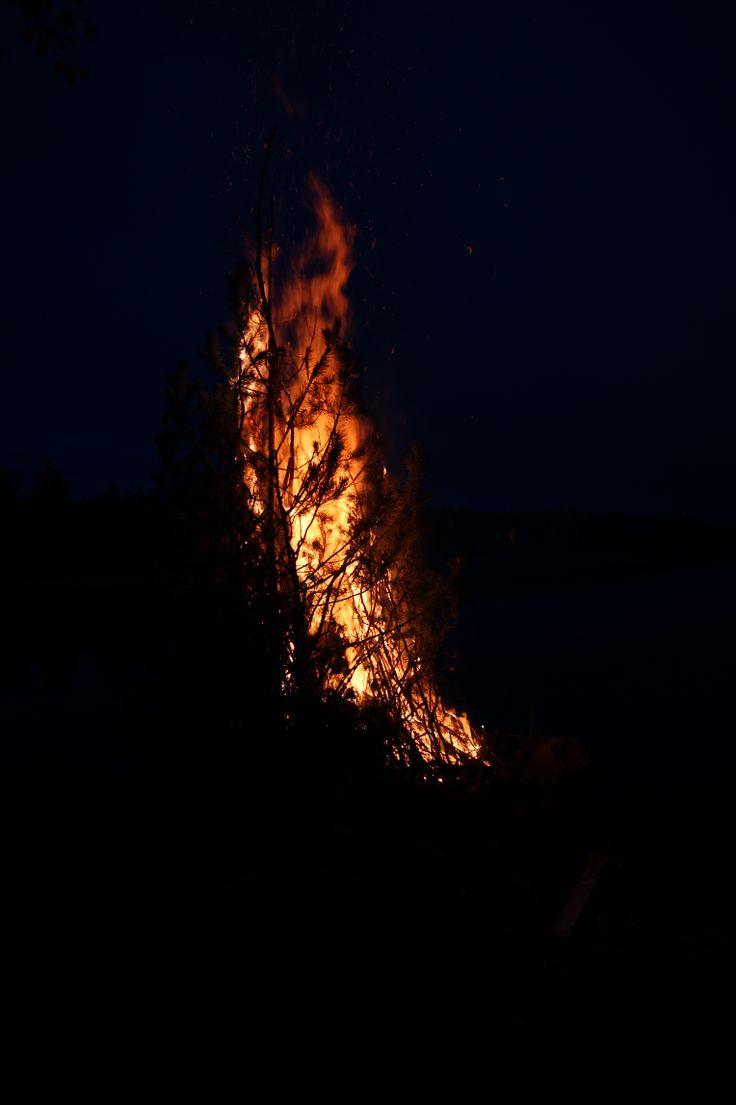 Flames in the night. Finnish Midsummer celebrations - #kokko #bonfire #finland #summer ©Marika Lindström