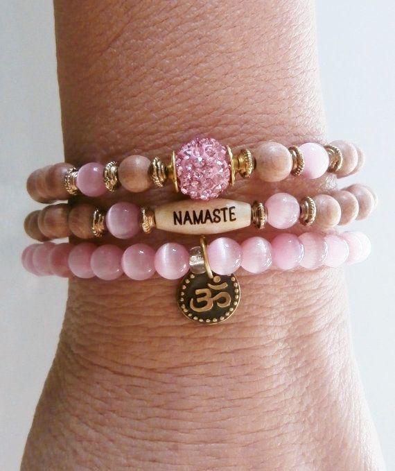 Set of 3 Cat's eye Yoga bracelets Om Namaste by LifeForceEnergy, $32.00
