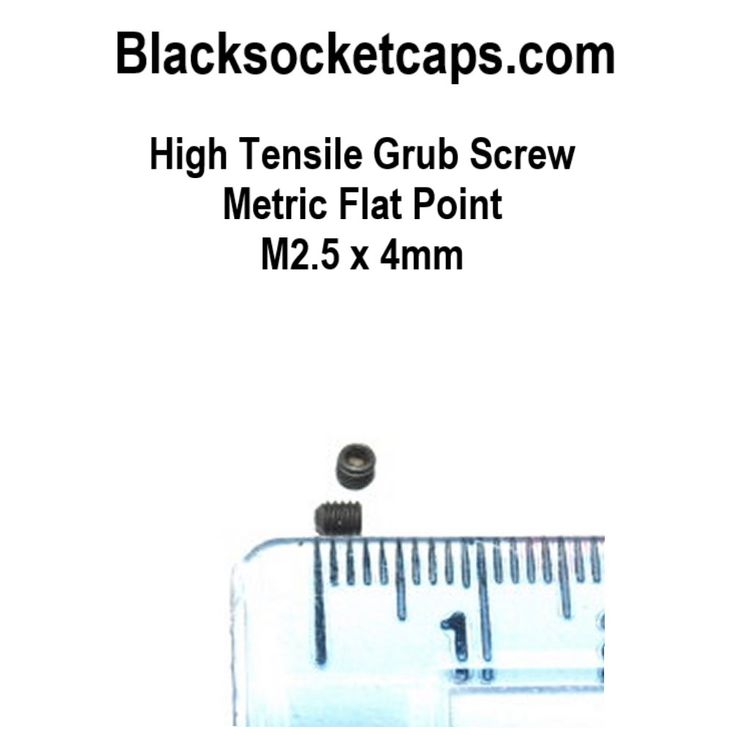 M2.5 Grub screws allen key fitment, used to pinch or hold a shaft inplace, tighened with an allen key or hexagon key. www.blacksocketcaps.com suppliers in Kent UK of fixings and fasteners.