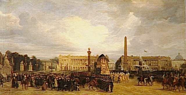 Retour des cendres de Napoléon Ier de Sainte-Hélène. 15 décembre 1840 : le char funèbre de Napoléon passe sur la place de la Concorde à Paris.