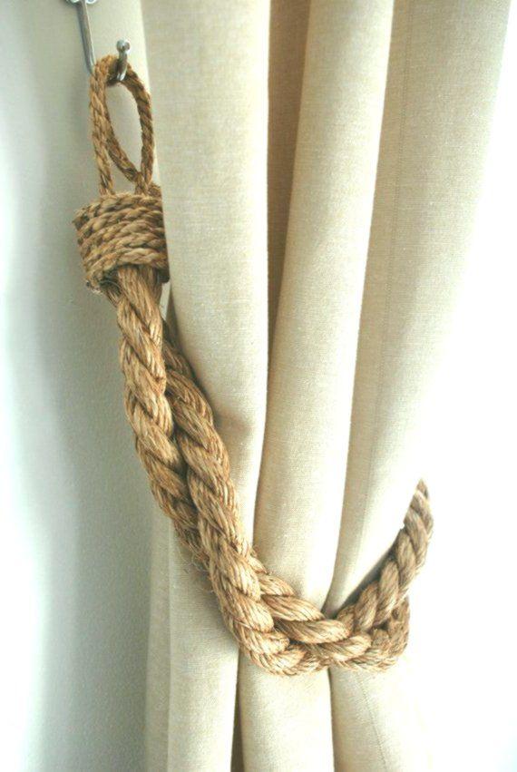 Rustic Manila Rope Curtain Tiebacks Shabby Chic Ties Vintage