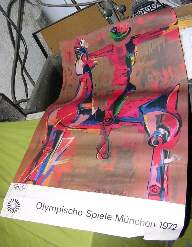 1972 OLYMPICS POSTER GERMANY OLYMPISCHE SPIELE MUNCHEN MORINO PRINTED IN GERMANY
