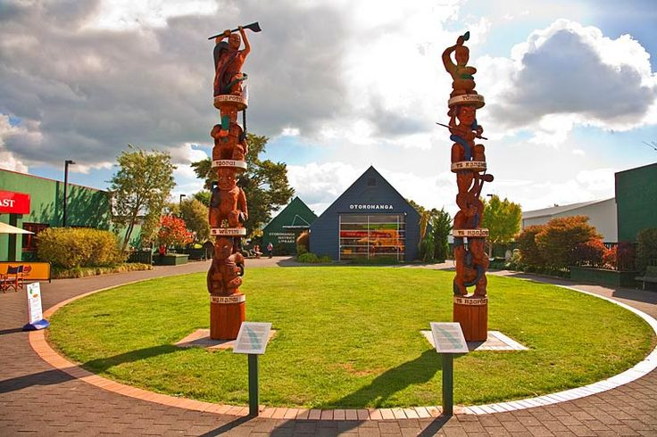 Otorohanga, Library, with totems of Maori warriors, see more at New Zealand Journeys app for iPad www.gopix.co.nz