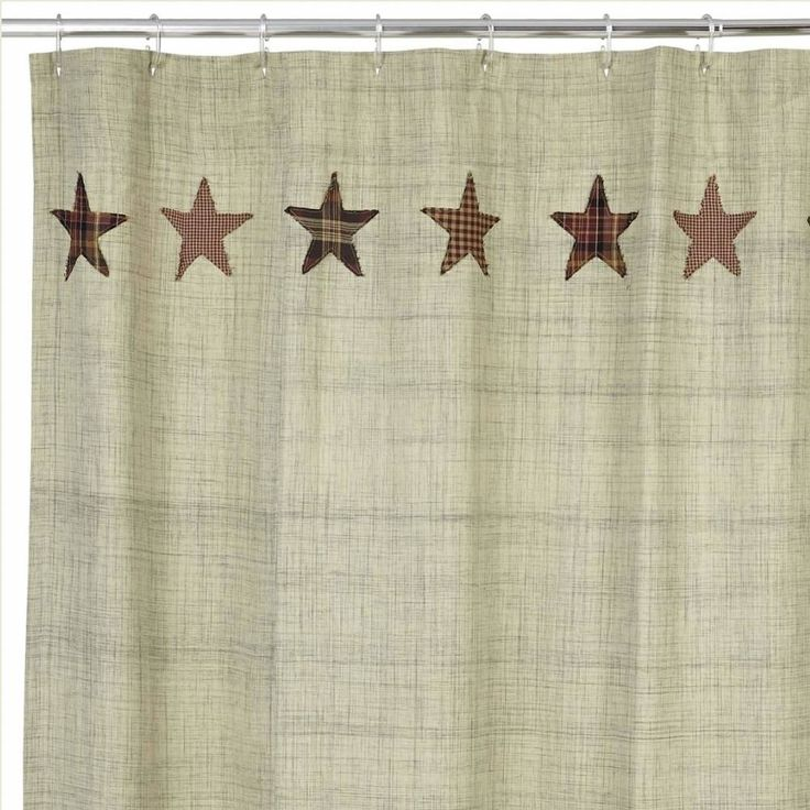 """The shower curtain measures 72x72"""" and features button holes for your shower hooks above a 3"""" rod pocket. It is a dark cream with a dark grey slub weave interwoven for a detailed and unique color variation and texture. The top and bottom edge features appliqued stars. This shower curtain has a 100% cotton fabric body with 10 applique stars along the top and 10 along the bottom and comes lined. #country #star #shower #curtain #bathroom"""