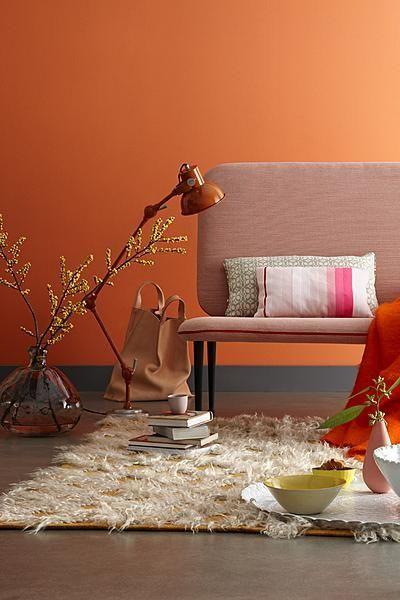 Orange living room with hairy carpet #seventies #1970