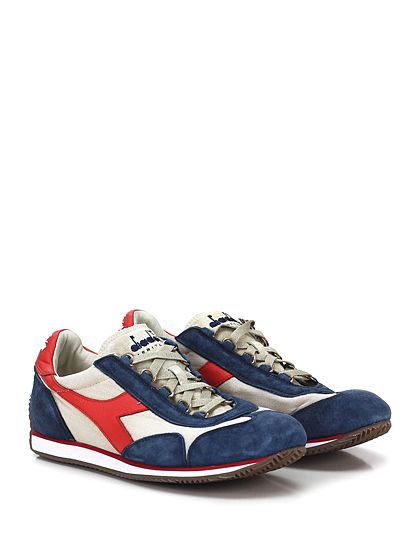 DIADORA Heritage - Sneakers - Uomo - Sneaker in tessuto e camoscio effetto vintage con suola in gomma. Tacco 15. - ECRU\DENIM - € 155.00