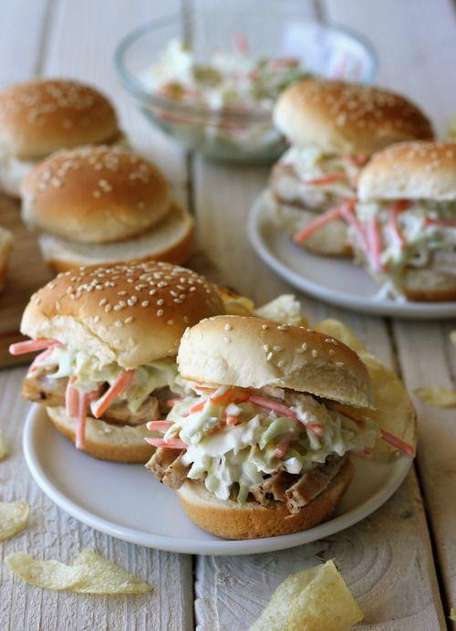 raspberry balsamic glaze pork sliders/w coleslaw