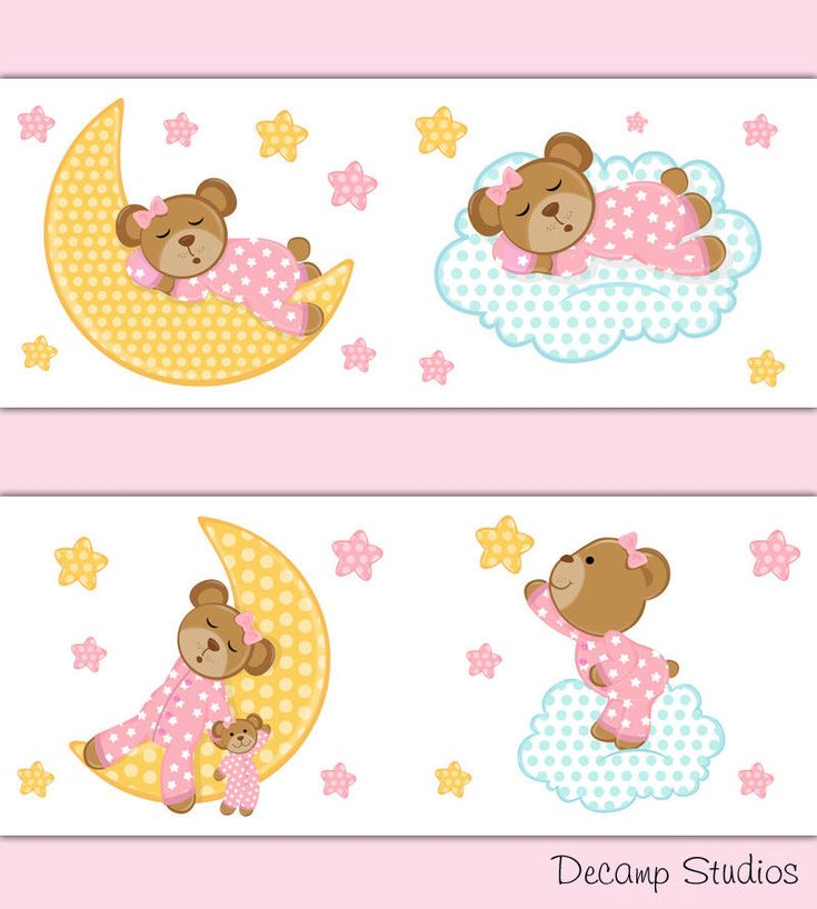 Pink Teddy Bear Wallpaper Border Wall Art Decals Cloud Star Moon Nursery Sticker #DecampStudios