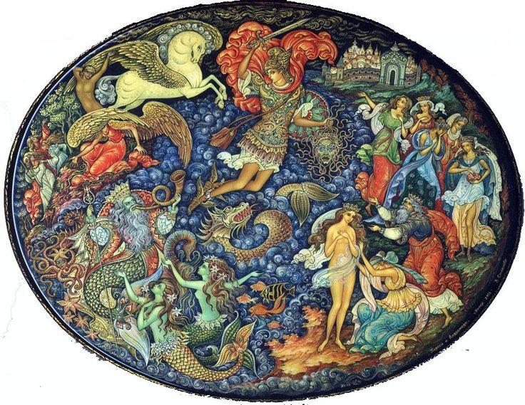 Vera Smirnova, Palekh lacquer box, Perseus and Andromeda