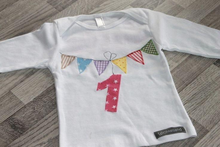 """Geburtstagsshirt+""""Wimpel""""+Zahl+1,2,3,4,+von+Wichtelland+auf+DaWanda.com"""