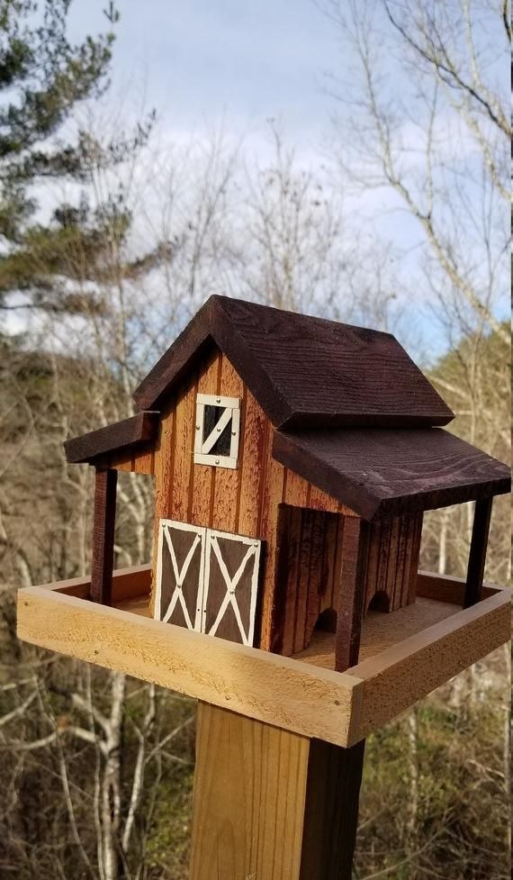 Small Old Red Barn Bird Feeder Solid Cedar Wood Handcrafted In Etsy In 2020 Wooden Bird Feeders Wood Bird Feeder Wooden Bird Houses