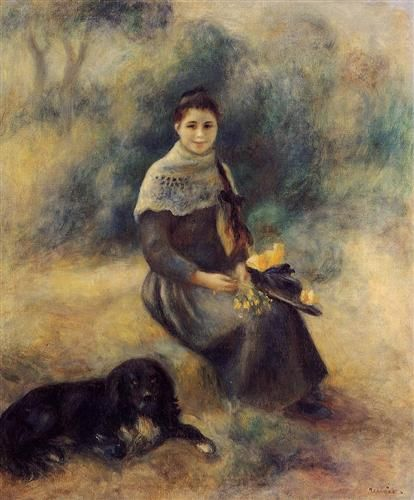 Young Girl with a Dog, 1888  - Pierre-Auguste Renoir. He could capture such pleasing expressions.