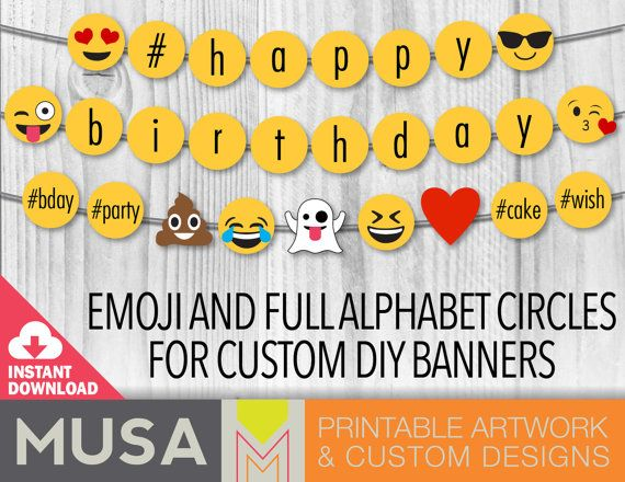 Receive a set of digital, printable emoji themed circles perfect to use as banners or other decor items. The set includes full alphabet letters, numbers, hashtag and popular emojis (pictured) in 4 size. Plus 8 circles of emojis perfect to use as hanging decorations.  Just print them, cut them and use them as they are for decor, use sticks for using them as photo props, or string to use them as a pennant banner.  This is a digital file and NO PHYSICAL ITEM WILL BE SHIPPED…