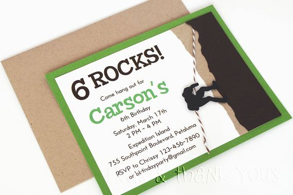 Rock Climber Invitation for Kids Rock Climbing or Indoor Adventure Birthday Party by Peas & Thank You's | Catch My Party