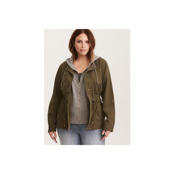Torrid Layered Anorak Jacket ($49) ❤ liked on Polyvore featuring outerwear, jackets, anoraks, green, plus size, green jacket, hooded anorak jacket, military jacket, plus size military jacket and womens plus jackets