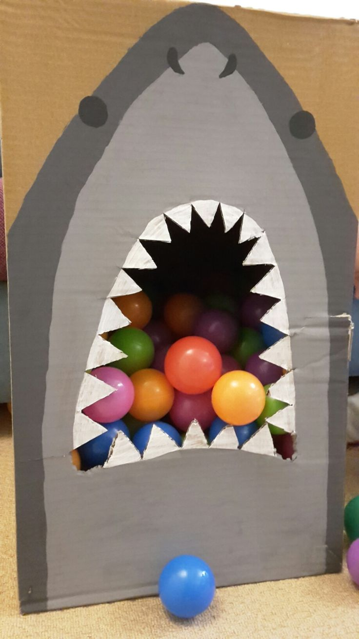 Shark ball toss, lightly foxed from enthusiastic use! I used some Makedo pieces to make a side trapdoor.