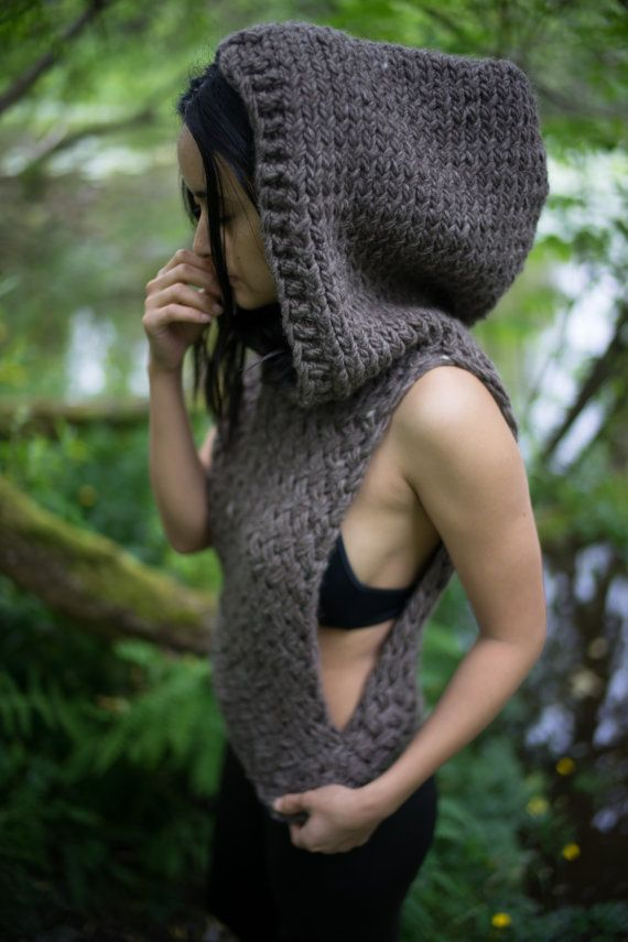 Gran tamaño con capucha chaleco de punto por knittybynaturestore
