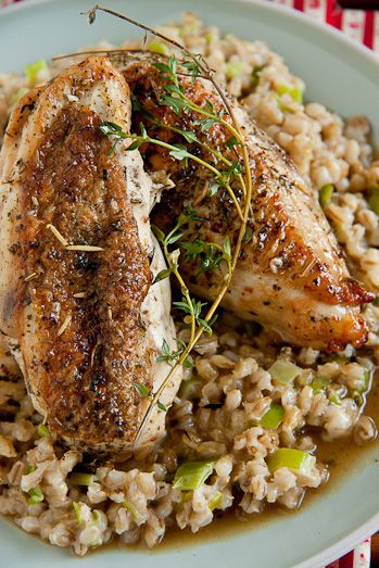 Roast Chicken with Barley Risotto/For the barley risotto 1 cup pearl barley (I used the Woolworths one) 4 cups water 2 leeks, washed and finely chopped 2 garlic cloves, finely chopped 500ml (2 cups) chicken stock 125ml (1/2 cup) cream salt & pepper to taste for the chicken 4 chicken breasts, on the bone and skin on juice of 1 lemon 2 tbsp roasting spice (I used NoMu's roast rub) 1 tsp salt 300ml (1 1/2 cup) chicken stock