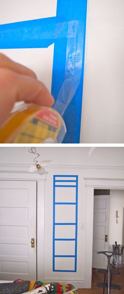A great idea for taping things to a wall! Start with painters tape, and then apply double sided tape so that it doesn't touch the wall!!