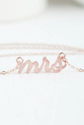 Mrs Necklace Rose Gold Mrs Necklace Bridal Shower