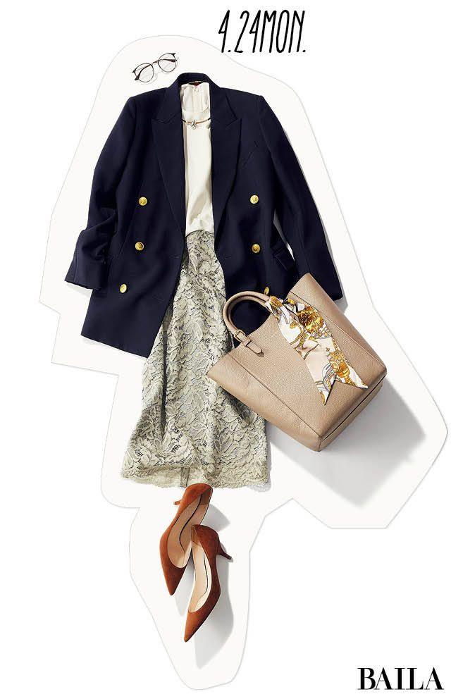 レースタイトスカート×とろみブラウスのコンビは、女らしさを底上げしてくれるコーディネート。今年の春なら、スカートをトレンドのニュアンスカラーにするのがおすすめです。通勤なら、きちんと感を意識してジャケットを。大きめシルエットのダブルジャケットなら、今っぽいラインに仕上げるうえ、固・・・