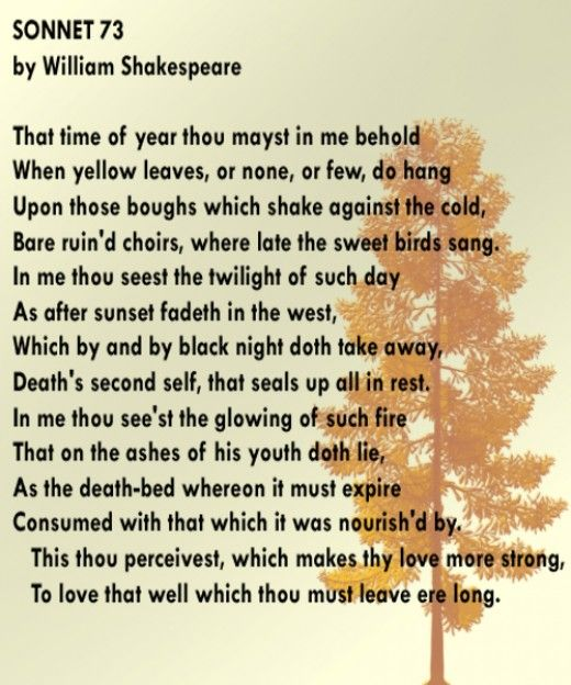 William Shakespeare's Sonnet 73. Even when not bringing his A game Willie is pretty damn good.