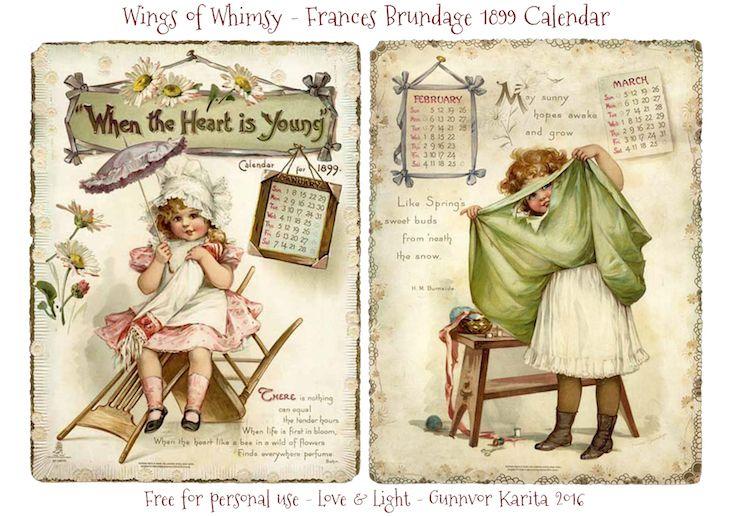 Calendar Sunday – Frances Brundage Girls 1899 | Wings of Whimsy