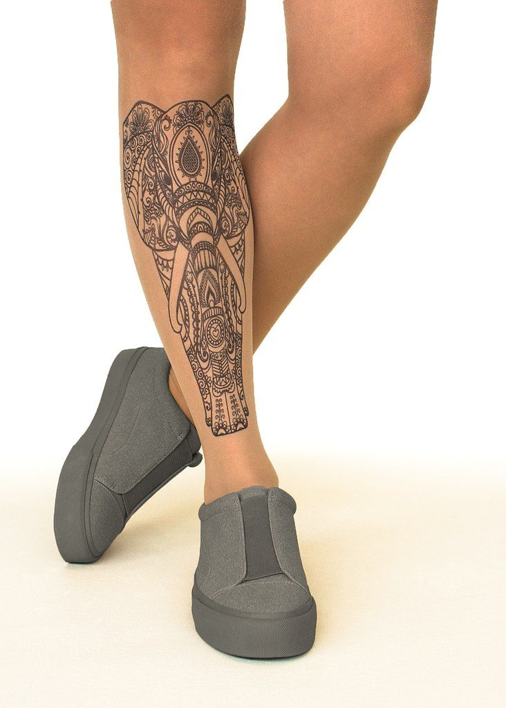 Indian Elephant - 20 Den Tattoo Sheer Tights with a mehndi #elephant design. #tattootights #elephant #tattoo #indianelephant #printedtights #faketattoo #unisextattoo #sheer #tights