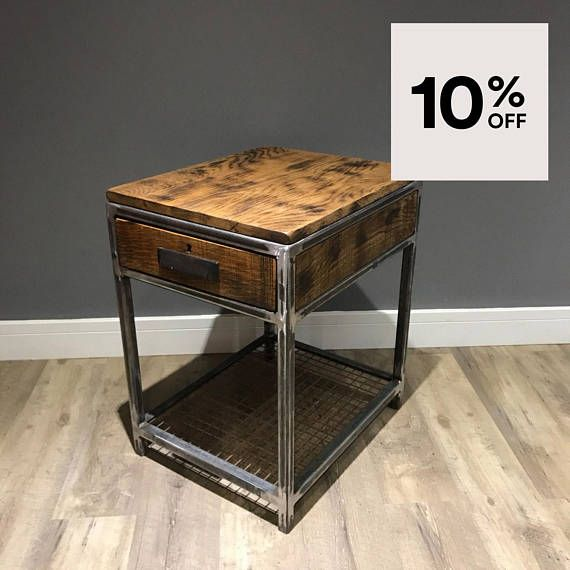 Industrial Bedside Table Wood And Metal End Table Rustic Industrial Bedside Tables Furniture Wood End Tables Rustic metal and wood end tables