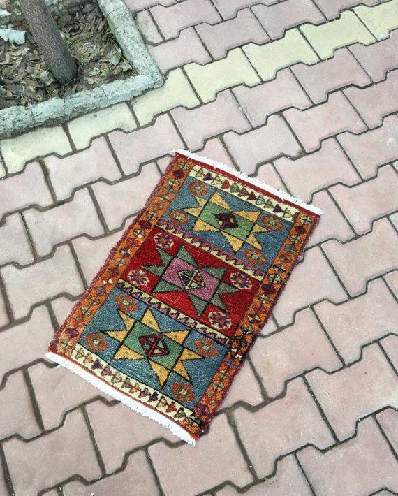 Betaalbare Vintage Turkse tapijt, Boho stijl Hand Geknoopte Badmat tapijt, ingang Decor Lovely Yastik Rug 1