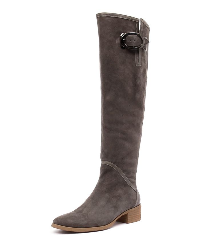 Tamila by Django & Juliette. Oh the places you will go with this suede knee length boot! Featuring leather panels, a buckle trim and a side zip for convenience, this boot is a great investment for many winters to come. These are versatile enough to be worn casually over skinny jeans or teamed with tights and a frock if you want to dress up!