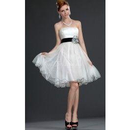A-line Strapless Short/Mini White Chiffon Bridesmaid Dresses(BD387_125)_as is