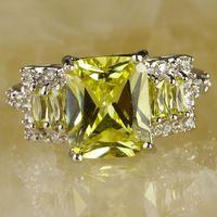 Art Deco nueva moda esmeralda Cut verde amatista anillo de plata 925 tamaño 6 mujeres joyas regalos envío gratis por mayor