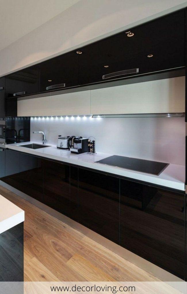 Modern Black And White Kitchen With Led Light Cornice Below Cupboards Modern Kitchen Remodel Contemporary Kitchen Design Modern Kitchen