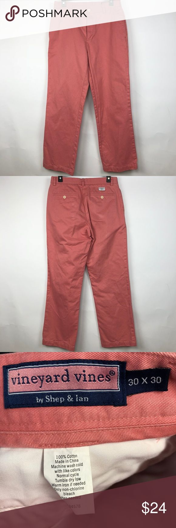 Vineyard Vines Men's Salmon Pink Pants 30 X 30 Thanks for stopping by at OneManlyShop!!!!  Item: Vineyard Vines Mens 30 X 30 Salmon Pink Cotton club Pants slacks trousers  Condition: In excellent used condition.  Please refer to images for more details about this item. If you have any questions please feel free to ask. Vineyard Vines Pants Chinos & Khakis