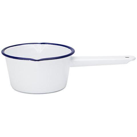 BOUGHT - Falcon - White & Blue Enamel Milk Saucepan 14cm