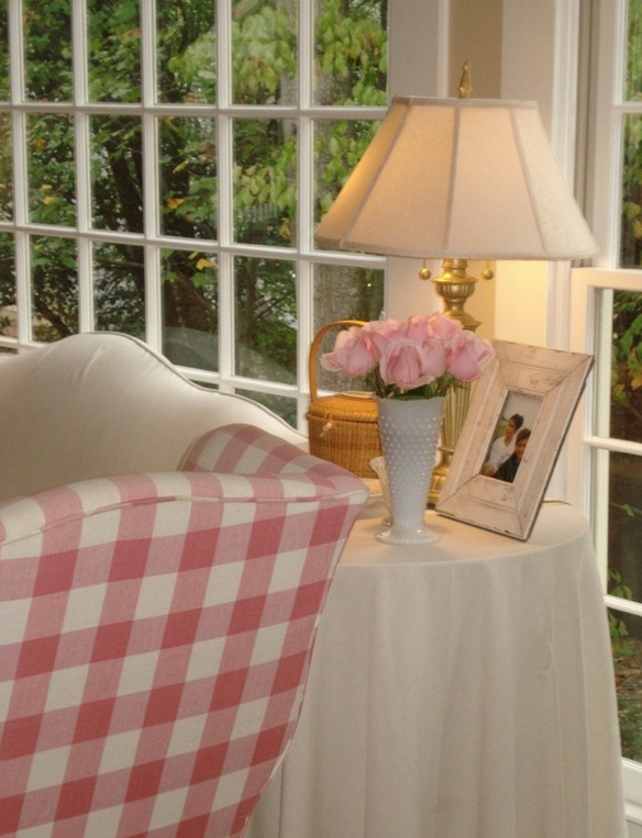 Pink Check Wing Back Chair