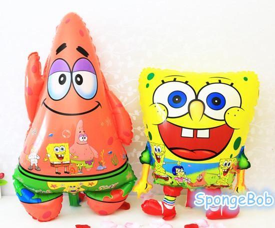 [Visit to Buy] Spongebob Cartoon Air Balls Inflatable Sponge Bob Foil Balloons Patrick Star Happy birthday party decorations kids party ballons #Advertisement