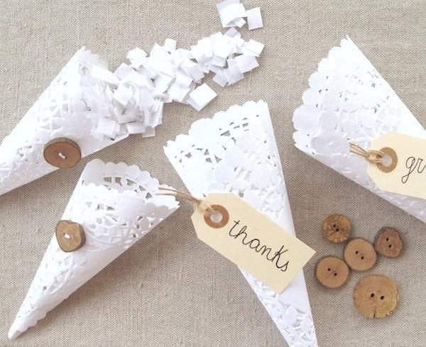 DIY: Doily Cones  for treats or flower petals, rice, confetti, etc. for tossing at the bride and groom.