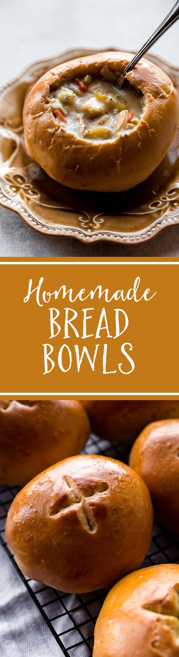 How to make crusty and soft homemade bread bowls with step by step pictures. This is a delicious basic dinner roll recipe you should hold onto! Recipe on sallysbakingaddiction.com