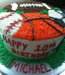 Sports Birthday Cake and Cupcakes
