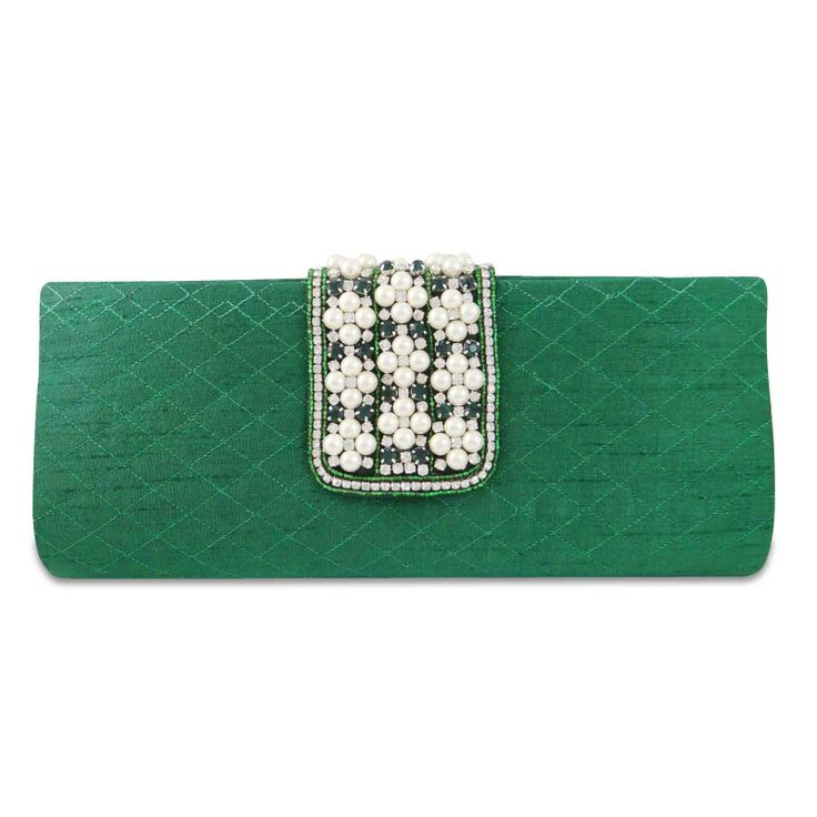 Beautiful cotton blend fabric woman pearl beads and rhinestones clutch purse /handbag. ..this is img