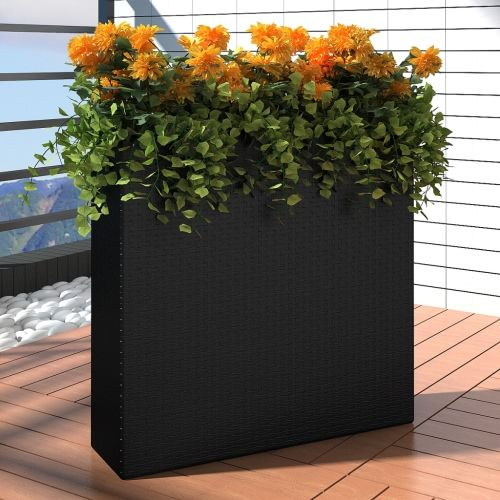 Garden Rectangle Rattan Planter Set Black