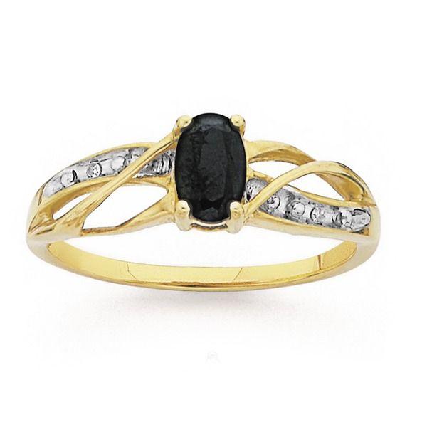 9ct Gold Sapphire & Diamond Oval Cut Ring