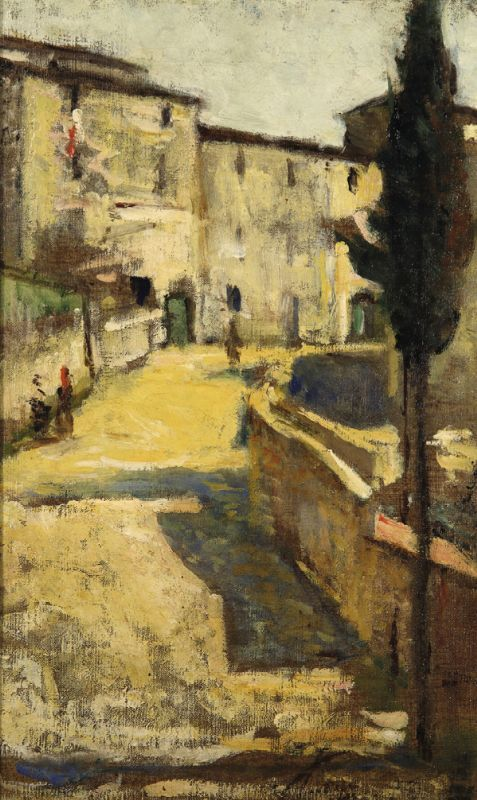 Silvestro Lega, La strada di paese, 1890, Collezione privata.