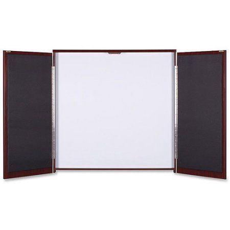 Lorell Dry-Erase Whiteboard Presentation Cabinet, Brown